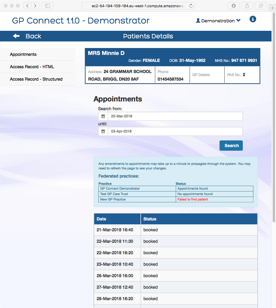 GP Connect demonstrator and developer tools